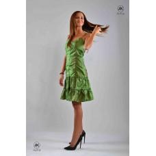 Дамска рокля от зелена тафта